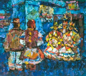 Carol Singers, 1980,  tempera on canvas, 70х80