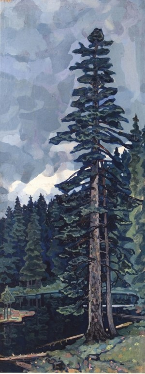 Two Fir Trees, 1965, oil on canvas, 140x60