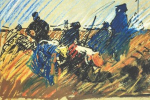 Women In The Field, 1971, pastel on paper, 20х29