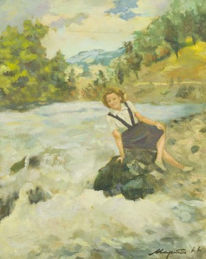 Woman On The River Bank, the 1950s, oil on canvas, 50x40,4