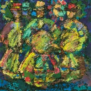 Carol Singers, 1980, tempera on canvas, 50х50