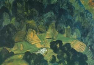 Двори між горами, 1940-ві рр., карт.темп.акв. 49х70