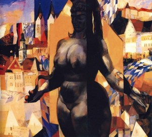 Esther (competition work for the protection of E. Fuks's sculpture), 1991, oil on canvas, 100x100