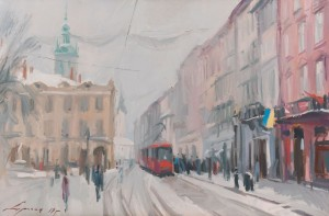 I. Drahan Winter Lviv', oil on canvas, 60x40