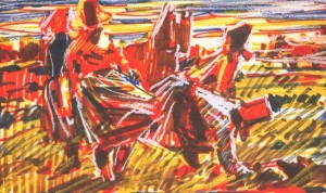 Women In The Field, 1972, Indian ink, marker on paper, 21х34