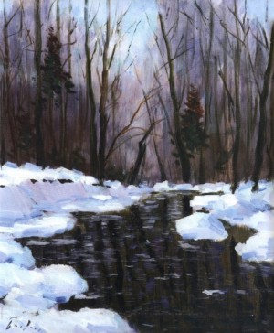Forest River In Winter, 1990, 60x50