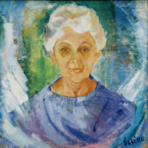 Edita, from the photo archive of Y. Nebesnyk, 1990, oil on canvas, 68x68
