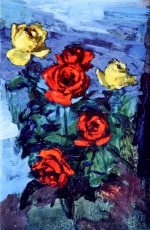 Still Life with Roses, 1980, oil on cardboard, 60x40