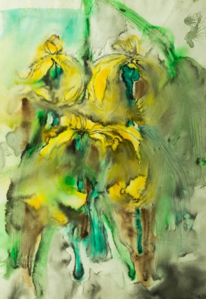 Yellow Irises, 2000, watercolour on paper, 100x70