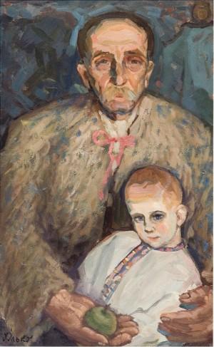 Grandfather And Grandson. Richka Village, 1960, oil on cardboard, 83x55.5