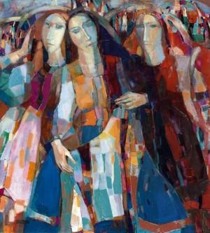 Transcarpathian Young Women, 2009, oil on canvas, 100x90