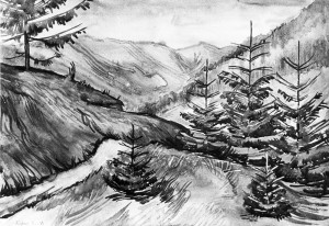 Landscape With Firs, 1973, watercolour on paper