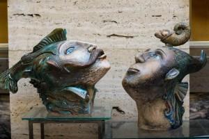 Two or Triton and Nereid2016.chamotte.moulding.engobe.ceramic glaze.salts.42х20х35.40х23х35.