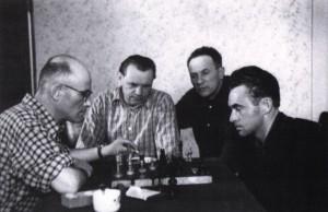 Playing chess G. Gluk, A. Marton, Z. Sholtes, A. Kashshai.