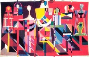 Сучасний театр, триптих, 1989, гобелен, руч.ткац.шерсть