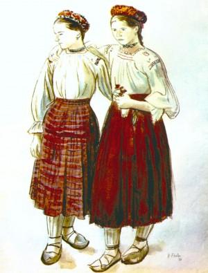Дві подруги у святковому вбранні, 1936,пап.акв., 60,7х46,8