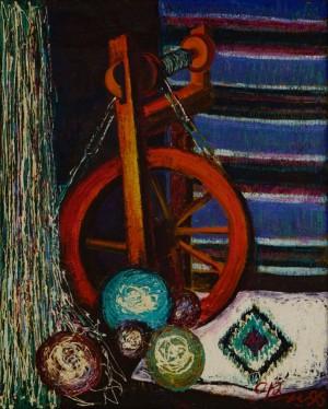 Натюрморт з червоним кужелем, 1996