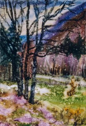 Весна в Жденієві, 2001, ватман, акв.