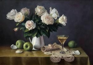'Білі троянди', 2015, п.о., 65х92