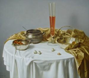 A Glass of Wine, oil, masonite, gesso ground
