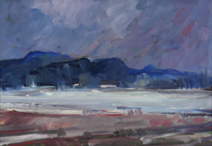 Winter Landscape, 1958, oil on cardboard, 25x35