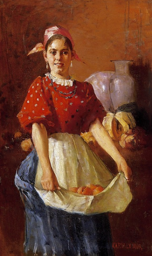 Woman With Fruits, oil on canvas, 73x43.5