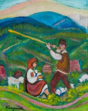 Вівчар з трембітою, 40-ві рр. ХХ ст., карт.о. 72,8х58