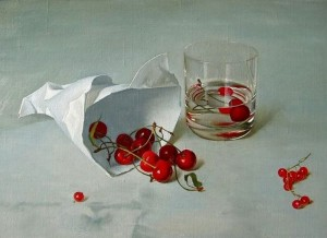 "Cherries From the series ""Simple things"" oil on paper, 25х34,5"