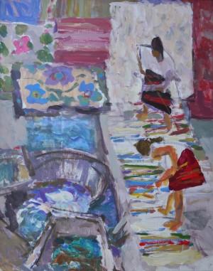 Прання килимів, 2012, орг.акр., 80х60
