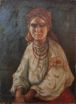 I. Silvai A Girl In A Red Scarf', oil on canvas