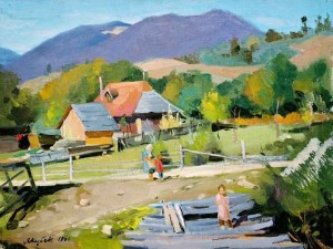 In Stavne Village, 1961, oil on canvas, 50x70