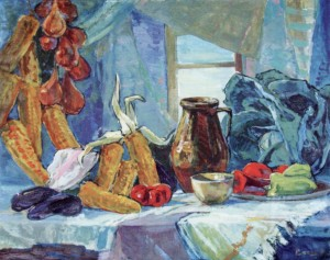 Still Life with Jugs, 1960, oil on canvas, 80x200