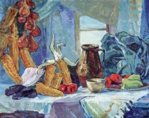 Натюрморт з глечиками, 1960, п.о., 80х200