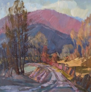 V. Dub Kostryno Village. Autumn Morning', 2011, oil on canvas, 60x60