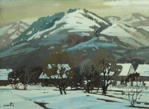 Winter In The Mountains, the 1970s, oil on canvas, 60x80