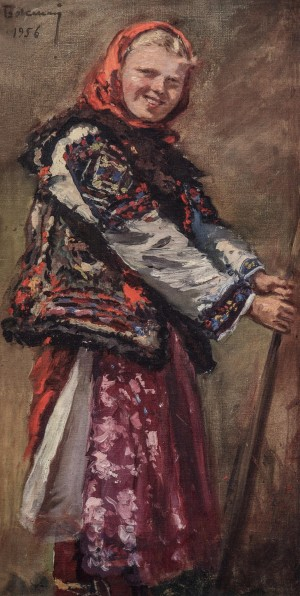 Hutsul Girl, 1956, oil on canvas, 63x24