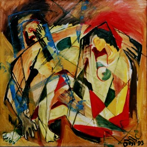 People In Love, from the photo archive of Y. Nebesnyk, 1993, oil on canvas, 100x100