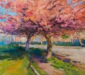 Y. Dulenko Street with Cherry Blossom', 50x40