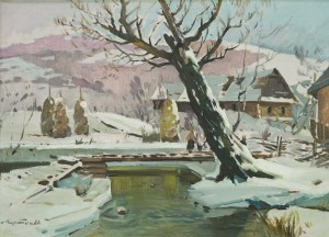 Winter In Village, the 1950s, oil on canvas, 64x90