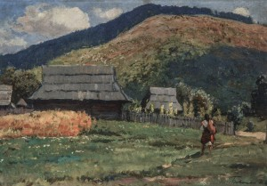 Hutsul Hut, 1940s, oil on cardboad, 35x49
