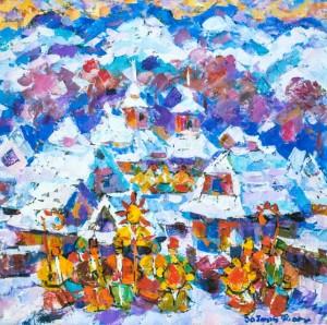Winter In Verkhovyna, 1992, oil on canvas, 80х80