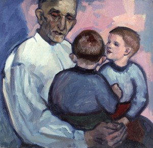 Grandfather And Grandchildren, 1963, oil on cardboard