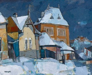 Snow-Covered Street (by sketches of the late 1970's), 2009, oil on canvas, 55x65