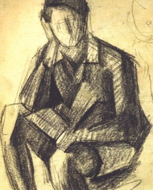 Thinking, 1930, sanguine on paper, 20х17,5