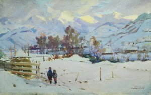 Winter In Verkhovyna, the 1960s, oil on canvas, 69x107