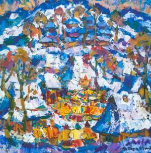 Winter In The Beskids, 1993, tempera on canvas, 80х80