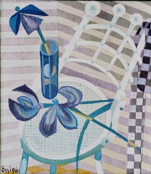 Irises On The Chair, from the photo archive of Y. Nebesnyk, 1996, oil on canvas, 80x70