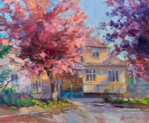 Y. Dulenko Lane with Cherry Blossoms', 50x60