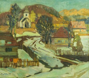 Winter In Mountain Village, the 1960s, oil on canvas, 69,5x79