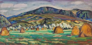 Valley Of The Tysza River, 1960, tempera on canvas, 40,5х79